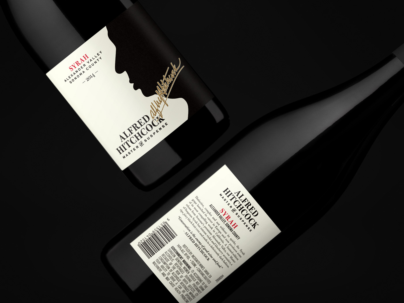 Alfred Hitchcock Master of Suspense Syrah 2014 – Front+Back