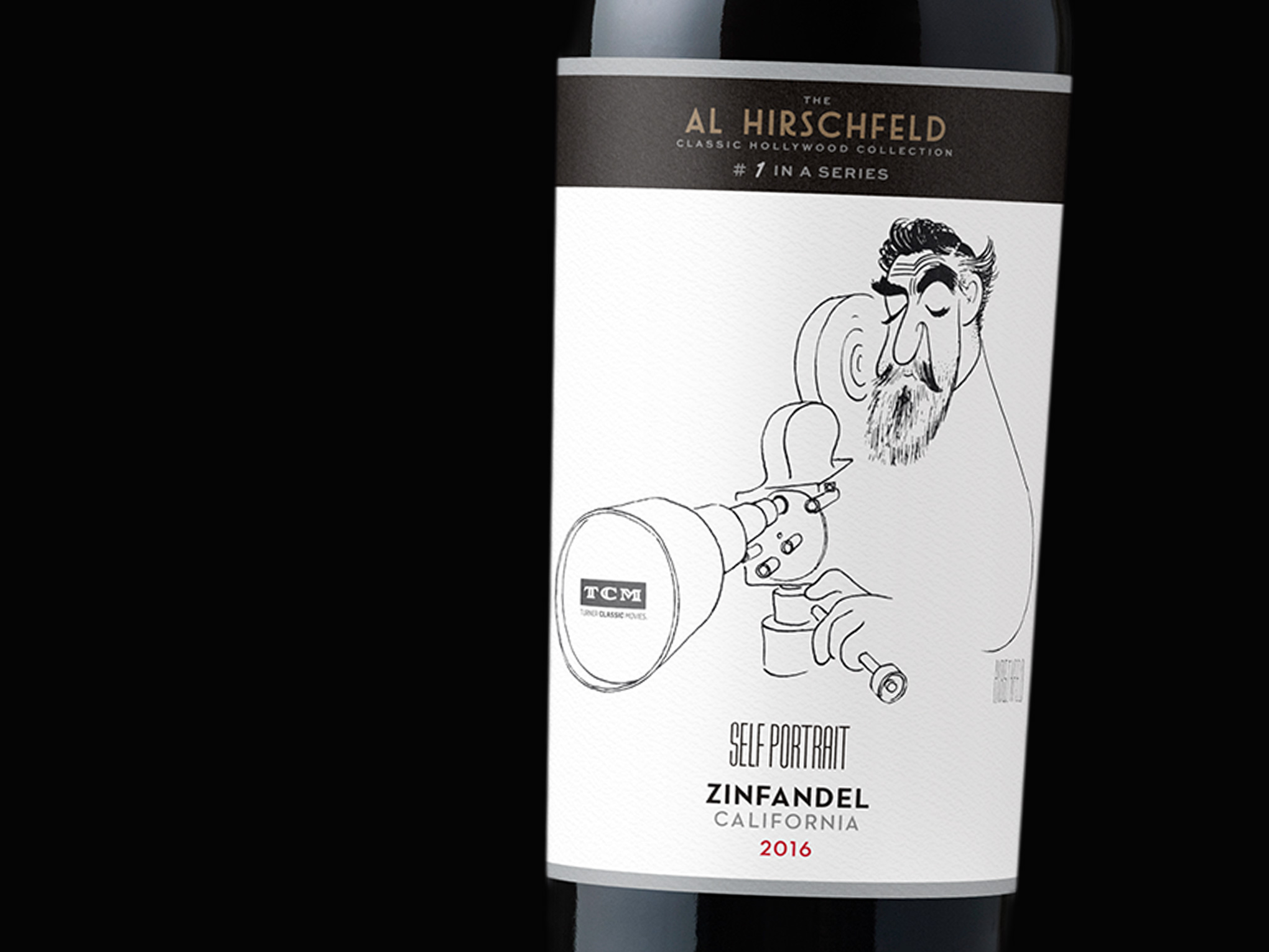 Al Hirschfeld Self Portrait Wine Label - Closeup