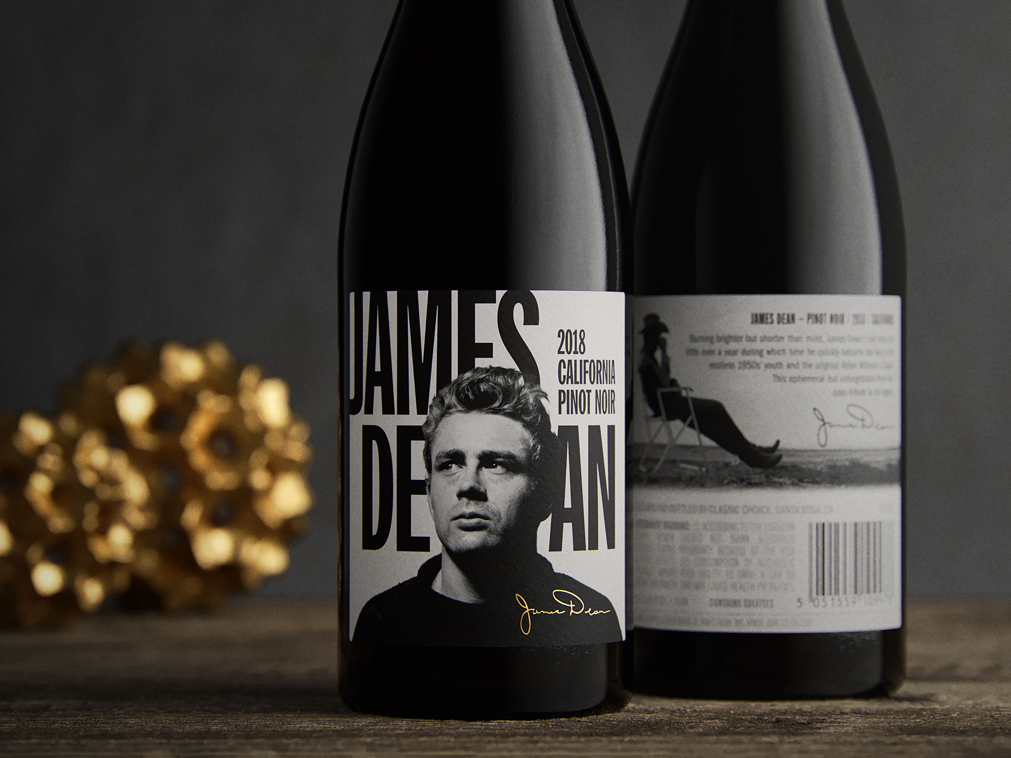 James Dean Pinot Noir Front Back Wine Label