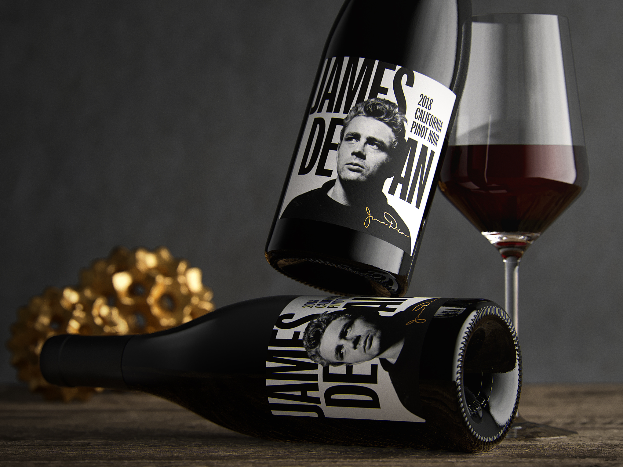 James Dean Pinot Noir Front Wine Label with Wine Glass