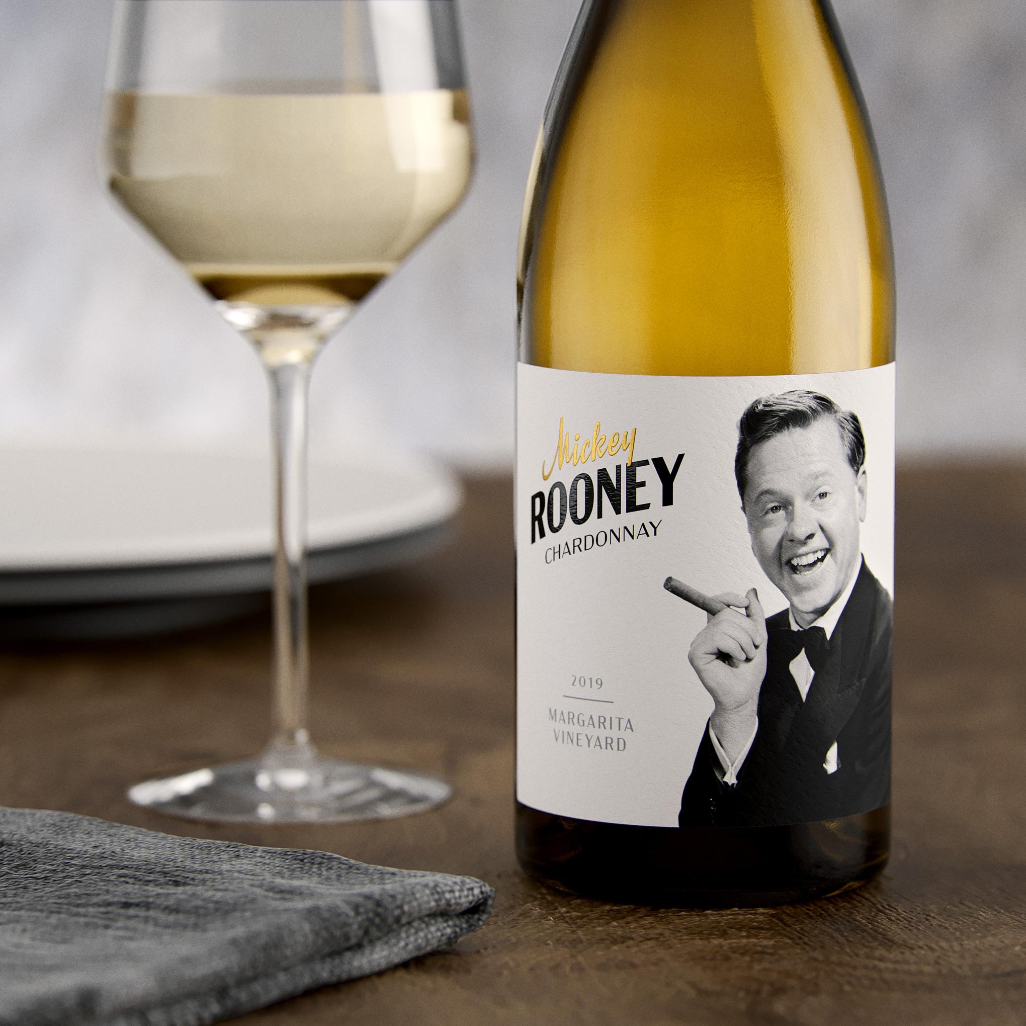Mickey Rooney Chardonnay Wine Label